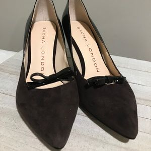 EUC Sacha London Brown Suede Bow Pointed Toe Heels